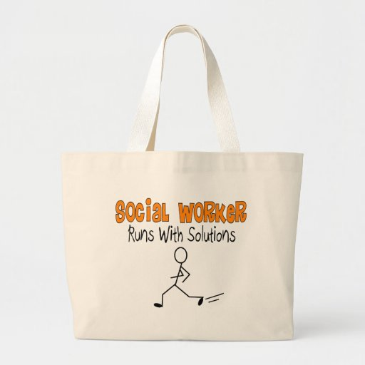 """Social Worker """"Runs with Solutions"""" Funny Gifts Bags"""