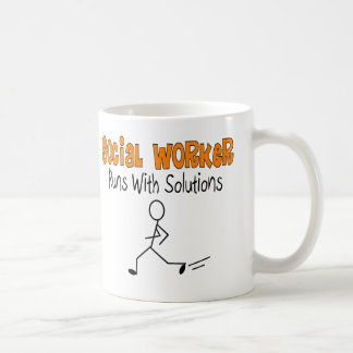 "Social Worker ""Runs with Solutions"" Funny Gifts Classic White Coffee Mug"