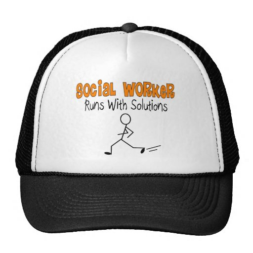"""Social Worker """"Runs with Solutions"""" Funny Gifts Mesh Hats"""
