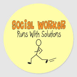 "Social Worker ""Runs with Solutions"" Funny Gifts Round Sticker"