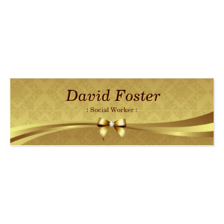 Social Worker - Shiny Gold Damask Business Card Templates
