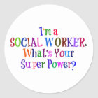 Social Worker Superhero, Colourful Text Classic Round Sticker