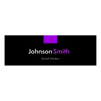 Social Worker - Violet Purple Compact Business Card Template