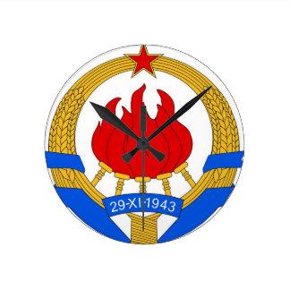 Socialist Federal Republic of Yugoslavia Emblem Round Clock