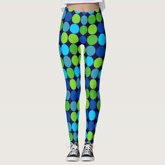 Socialite Blue Green Polka Dot Pattern Leggings