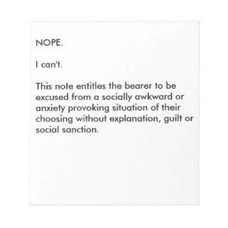 Socially Awkward Notepad