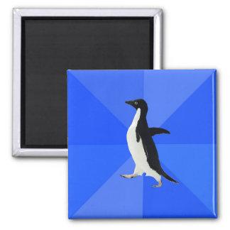Socially Awkward Penguin. Square Magnet