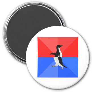 Socially Confused Penguin Advice Animal Meme 3 Inch Round Magnet