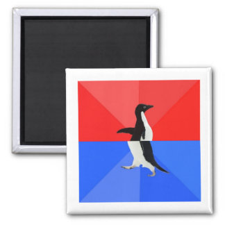 Socially Confused Penguin Advice Animal Meme Square Magnet