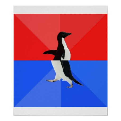 Socially Confused Penguin Advice Animal Meme Posters