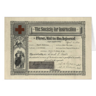 Society for Instruction in First Aid Certificate Card