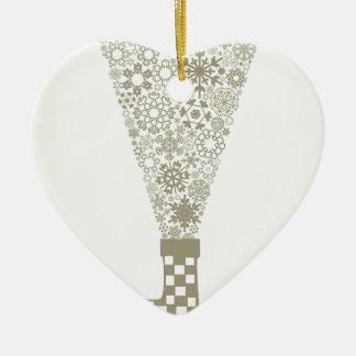 Sock Christmas Ceramic Heart Ornament