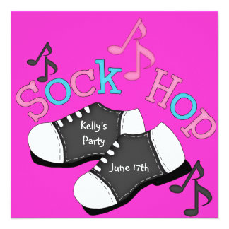 "Sock Hop Party Invitations 5.25"" Square Invitation Card"