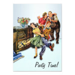 "Sock Hop Party Time Retro Custom Personalized 5"" X 7"" Invitation Card"
