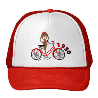 Sock Monkey % 1950's Bicycle Drawing--Unique Trucker Hats