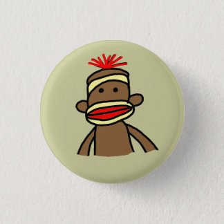Sock Monkey 1 Inch Round Button