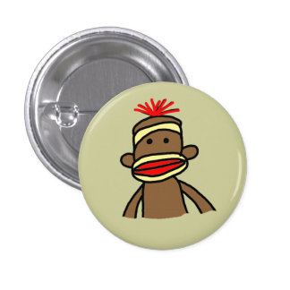 Sock Monkey 1 Inch Round Button
