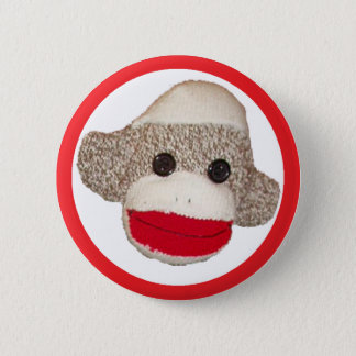 Sock monkey 2 inch round button