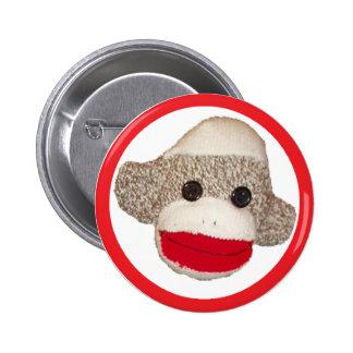 Sock monkey 2 inch round button