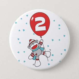 Sock Monkey 2nd Birthday 3 Inch Round Button
