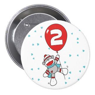 Sock Monkey 2nd Birthday 3 Inch Round Button