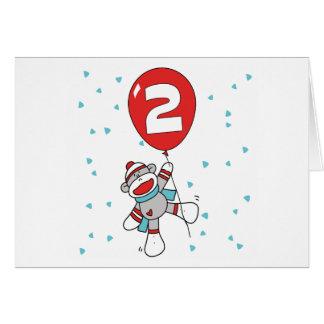Sock Monkey 2nd Birthday Invitations Note Card