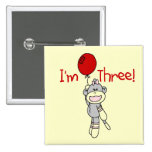 Sock Monkey 3rd Birthday Tshirts and Gifts Button