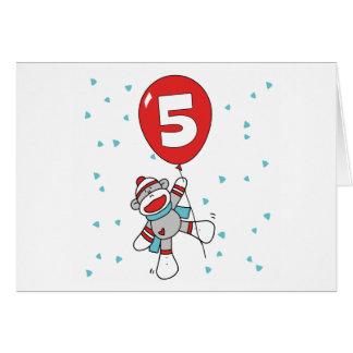 Sock Monkey 5th Birthday Invitations Note Card
