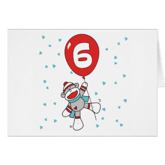 Sock Monkey 6th Birthday Invitations Note Card