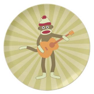 Sock Monkey Acoustic Guitar Dinner Plates