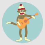 Sock Monkey Acoustic Guitar Round Stickers