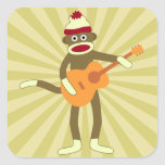 Sock Monkey Acoustic Guitar Square Stickers