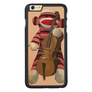 Sock Monkey and Cello 2 Carved® Maple iPhone 6 Plus Case