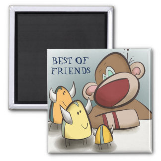 Sock Monkey and His Best Friends Magnet Square