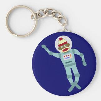 Sock Monkey Astronaut Keychain
