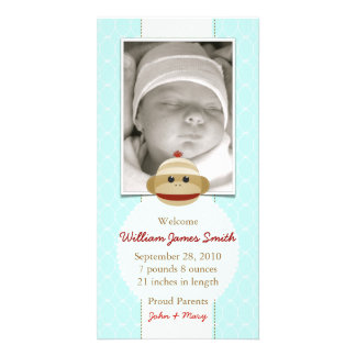 Sock Monkey Baby Blue Announcement Invitation Custom Photo Card