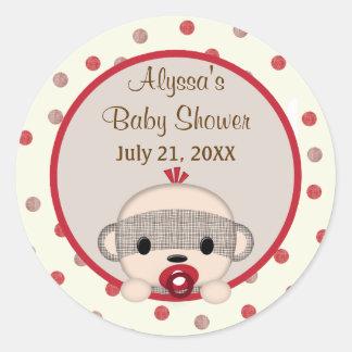 SOCK MONKEY Baby Shower Crib Round BOY #3 Round Sticker