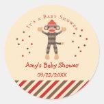 Sock Monkey Baby Shower Favour Sticker