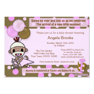 Sock Monkey Baby Shower Invitation Adorable PINK