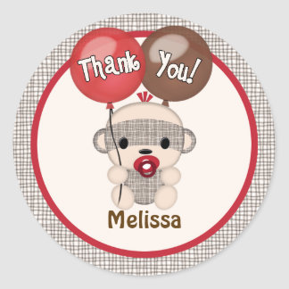 SOCK MONKEY Baby Shower Thank You Round BOY #4 Classic Round Sticker