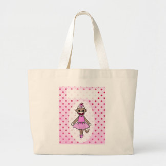 Sock Monkey Ballerina (personalize it) Large Tote Bag