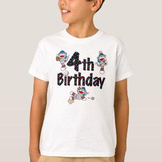 Sock Monkey Baseball 4th Birthday T-Shirt