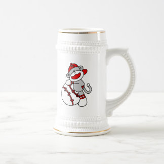 Sock Monkey Baseball T-shirts and Gifts 18 Oz Beer Stein