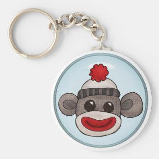 Sock Monkey Basic Round Button Keychain