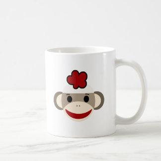 sock monkey basic white mug