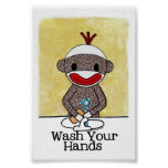 Sock Monkey Bathroom Reminder Wash Your Hands 4x6 Poster