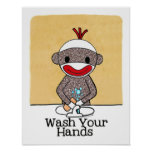 Sock Monkey Bathroom Reminder Wash Your Hands Poster