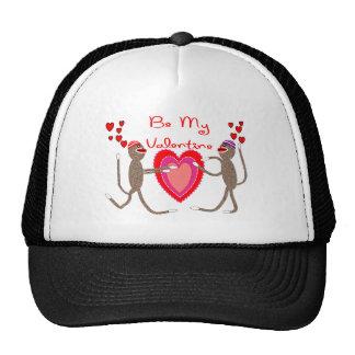"Sock Monkey ""Be My Valentine"" Cute Gifts Mesh Hats"