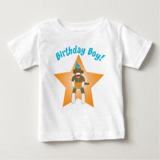 Sock Monkey Birthday Boy Baby T-Shirt