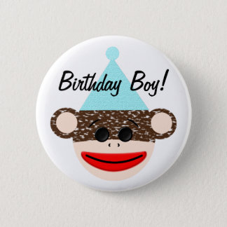 Sock Monkey Birthday Boy Button